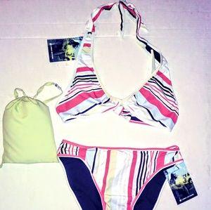 CARVE Reversible Bikini Top & Bottom Sarong Sz M